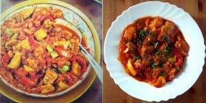 Potrawka z bakłażana, papryki i pomidorów