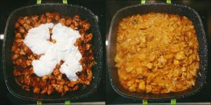 Indyk w sosie curry z ryżem i pomidorami